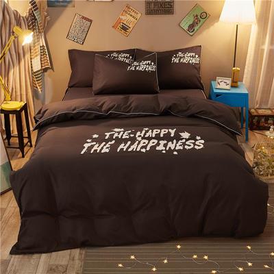 卡通简约纯色加厚磨毛床单款三件套四件套 1.2m(4英尺)床 彼岸-咖啡