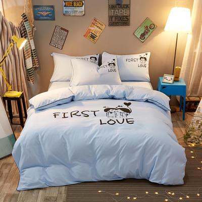 卡通简约纯色加厚磨毛床单款三件套四件套 1.0m(3.3英尺)床 初恋-蓝色