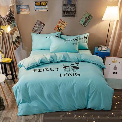 卡通简约纯色加厚磨毛床单款三件套四件套 1.2m(4英尺)床 初恋-水蓝