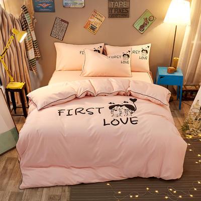 卡通简约纯色加厚磨毛床单款三件套四件套 1.0m(3.3英尺)床 初恋-玉色