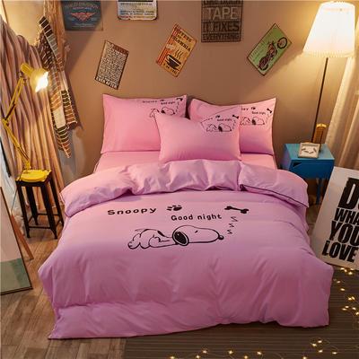 卡通简约纯色加厚磨毛床单款三件套四件套 1.8m(6英尺)床 努比-粉红