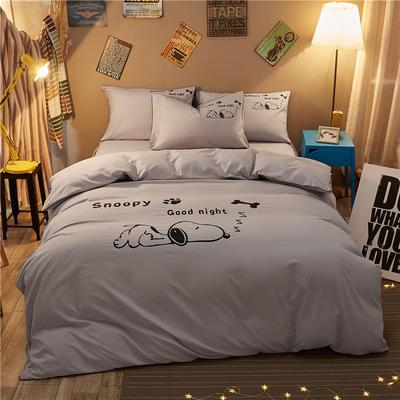 卡通简约纯色加厚磨毛床单款三件套四件套 1.0m(3.3英尺)床 努比-浅灰