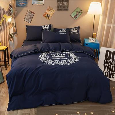 卡通简约纯色加厚磨毛床单款三件套四件套 1.0m(3.3英尺)床 雅典女神-藏蓝