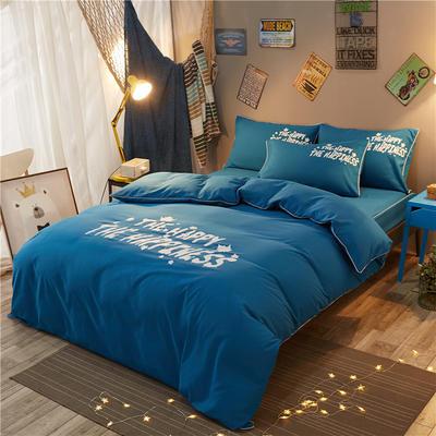 个性简约床笠款四件套 1.2m(4英尺)床 彼岸-宝蓝