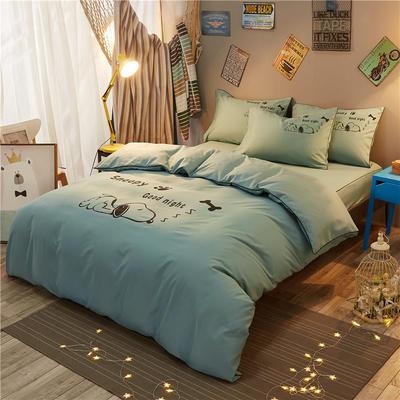 个性简约床笠款四件套 1.2m(4英尺)床 努比-浅绿