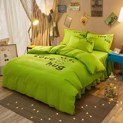 个性简约加厚床裙床罩款四件套 1.5m(5英尺)床 爱的拥抱-绿色