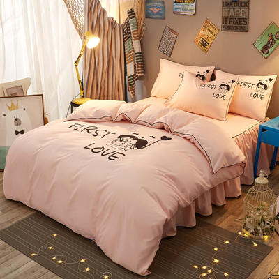 个性简约加厚床裙床罩款四件套 1.2m(4英尺)床 初恋-玉色