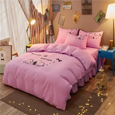 个性简约加厚床裙床罩款四件套 1.2m(4英尺)床 努比-粉红