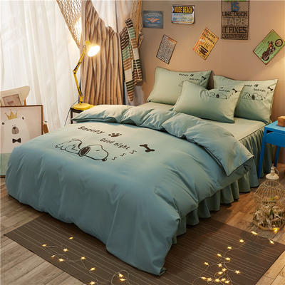 个性简约加厚床裙床罩款四件套 1.2m(4英尺)床 努比-浅绿