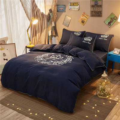 个性简约加厚床裙床罩款四件套 1.2m(4英尺)床 雅典女神-藏蓝