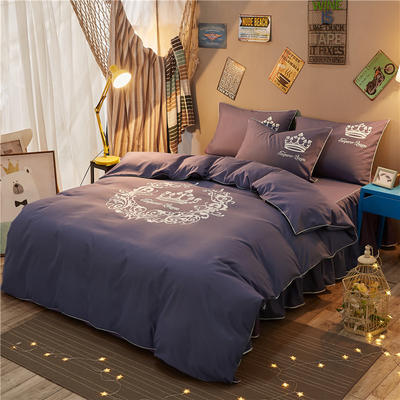 个性简约加厚床裙床罩款四件套 1.2m(4英尺)床 雅典女神-烟紫