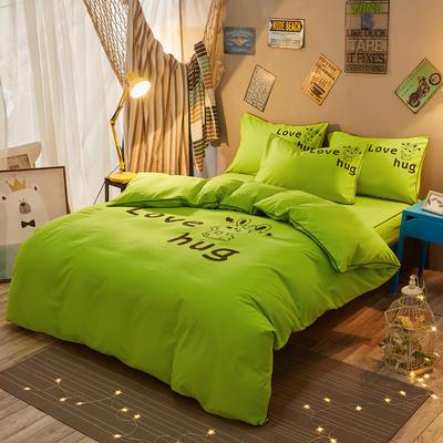 个性简约加厚磨毛四件套系列(床单款) 床单款1.0m三件套 爱的拥抱-绿色