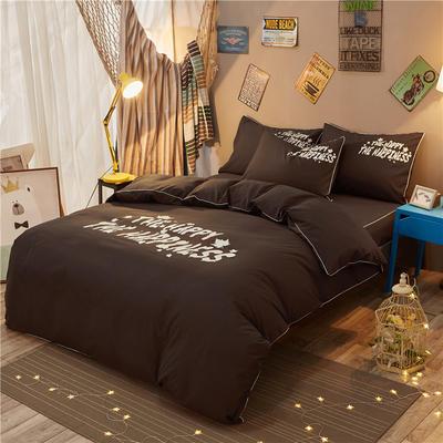 个性简约加厚磨毛四件套系列(床单款) 床单款2.2m四件套 彼岸-咖啡