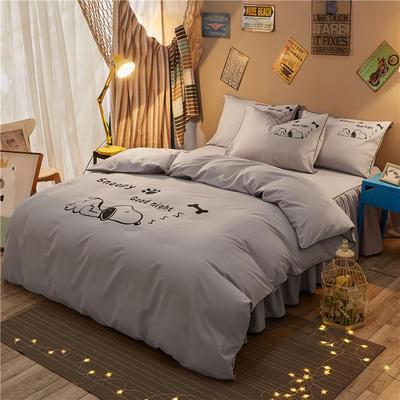个性简约加厚磨毛四件套系列(床单款) 床单款1.2m四件套 努比-浅灰
