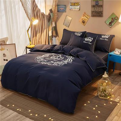 个性简约加厚磨毛四件套系列(床单款) 床单款2.0m四件套 雅典女神-藏蓝