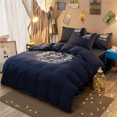 个性简约加厚磨毛四件套(床裙款) 1.5m床裙款 雅典女神-藏蓝