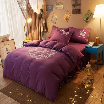 个性简约加厚磨毛四件套(床裙款) 1.5m床裙款 雅典女神-深紫
