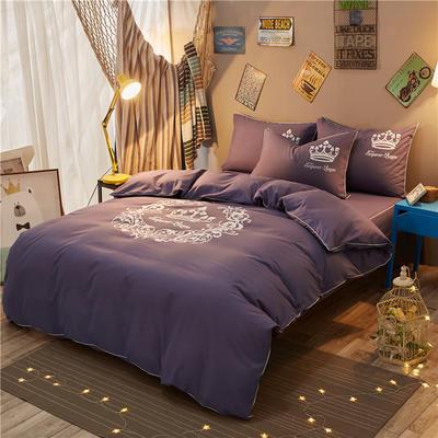个性简约加厚磨毛四件套(床裙款) 1.2m床裙款 雅典女神-烟紫