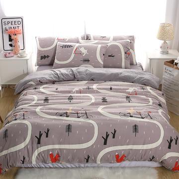 简约水洗棉四件套 1.0m床单款/三件套 骑行-驼色