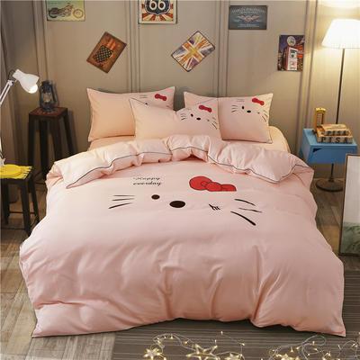2018新款韩版个性套件   床笠款 1.5m(5英尺)床 凯蒂猫-玉色