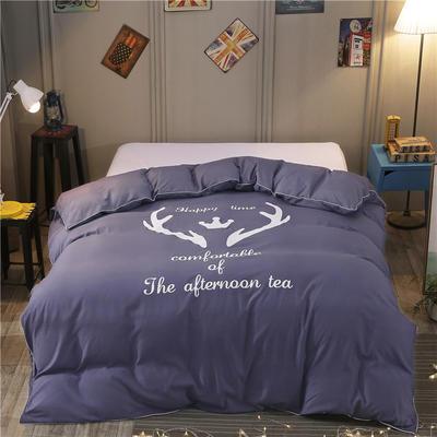 2018新款韩版个性套件   床笠款 1.2m(4英尺)床 圣诞鹿-烟紫
