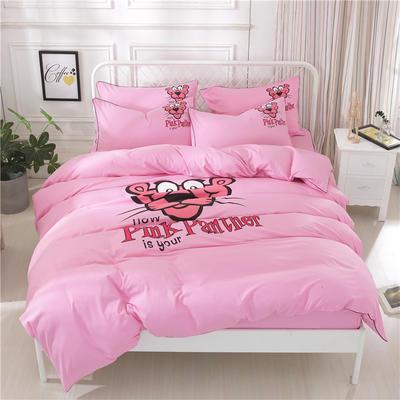 2018新款韩版个性套件   床笠款 1.2m(4英尺)床 顽皮豹-粉色