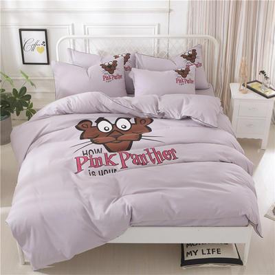 2018新款韩版个性套件   床笠款 1.2m(4英尺)床 顽皮豹-浅灰