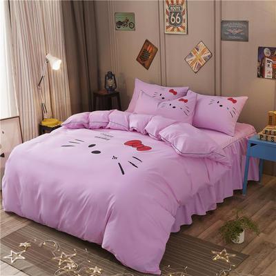 2018新款韩版个性套件 床裙款 1.5m床 凯蒂猫-粉红