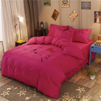 2018新款韩版个性套件 床裙款 1.2m床 凯蒂猫-玫红