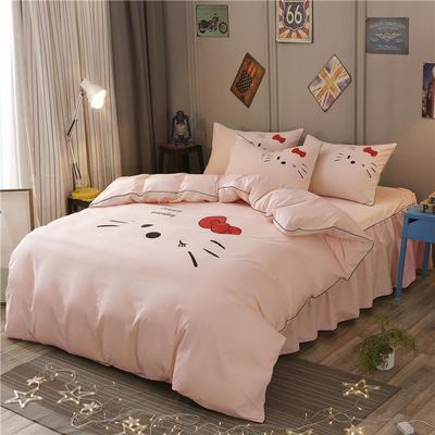2018新款韩版个性套件 床裙款 1.2m床 凯蒂猫-玉色