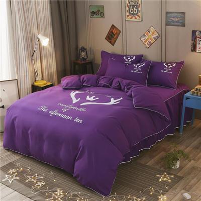 2018新款韩版个性套件 床裙款 1.2m床 圣诞鹿-深紫