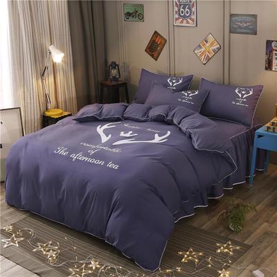 2018新款韩版个性套件 床裙款 1.2m床 圣诞鹿-烟紫