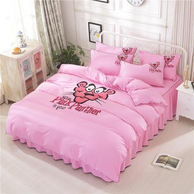 2018新款韩版个性套件 床裙款 1.2m床 顽皮豹-粉色