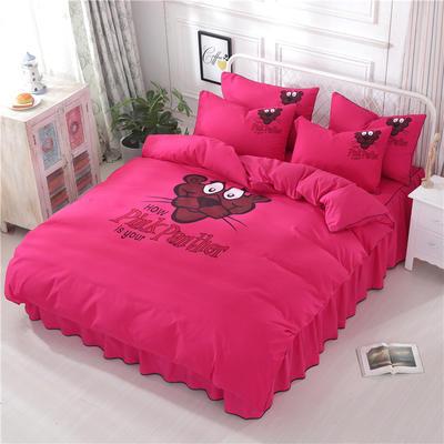 2018新款韩版个性套件 床裙款 1.2m床 顽皮豹-玫红