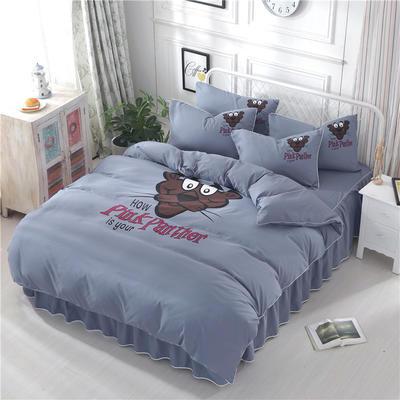2018新款韩版个性套件 床裙款 1.2m床 顽皮豹-烟灰
