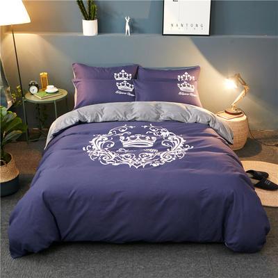 2018新品磨毛水晶绒四件套 1.2m(4英尺)床三件套 皇冠-烟紫