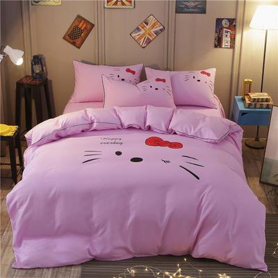 卡通简约纯色加厚磨毛床单款三件套四件套 1.0m(3.3英尺)床 凯蒂猫-粉红