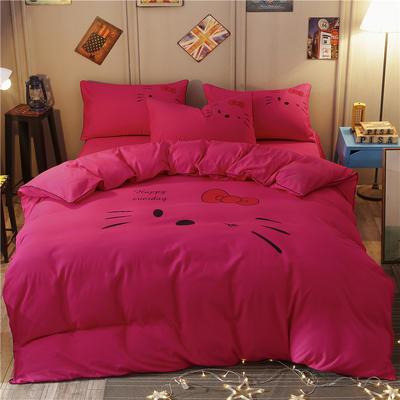 卡通简约纯色加厚磨毛床单款三件套四件套 1.0m(3.3英尺)床 凯蒂猫-玫红