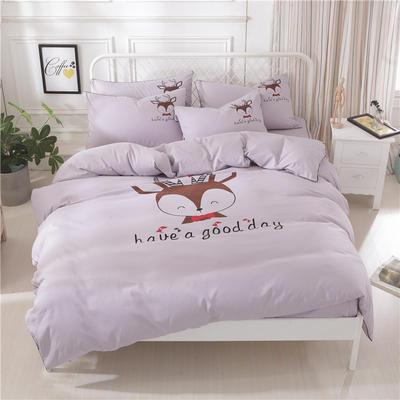 卡通简约纯色加厚磨毛床单款三件套四件套 1.0m(3.3英尺)床 鹿先生-浅灰