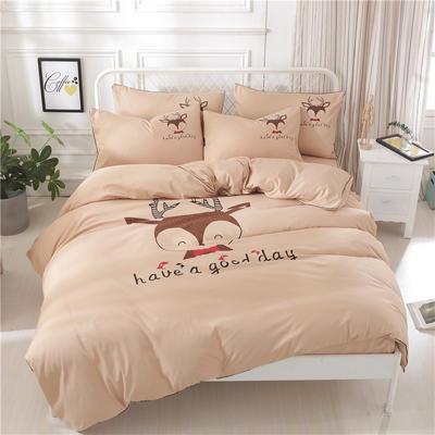 卡通简约纯色加厚磨毛床单款三件套四件套 1.0m(3.3英尺)床 鹿先生-驼