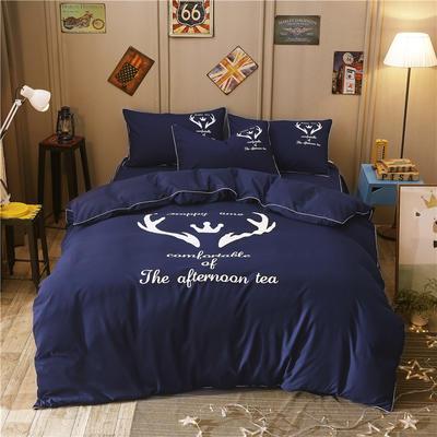 卡通简约纯色加厚磨毛床单款三件套四件套 1.0m(3.3英尺)床 圣诞鹿藏蓝