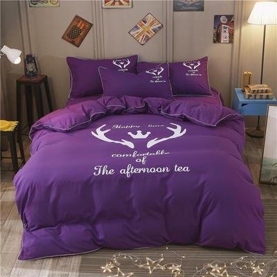 卡通简约纯色加厚磨毛床单款三件套四件套 1.0m(3.3英尺)床 圣诞鹿-深紫
