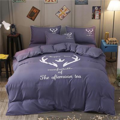 卡通简约纯色加厚磨毛床单款三件套四件套 1.0m(3.3英尺)床 圣诞鹿-烟紫