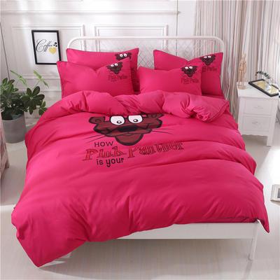 卡通简约纯色加厚磨毛床单款三件套四件套 1.0m(3.3英尺)床 顽皮豹-玫红