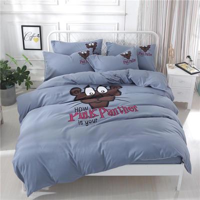 卡通简约纯色加厚磨毛床单款三件套四件套 1.0m(3.3英尺)床 顽皮豹-烟灰