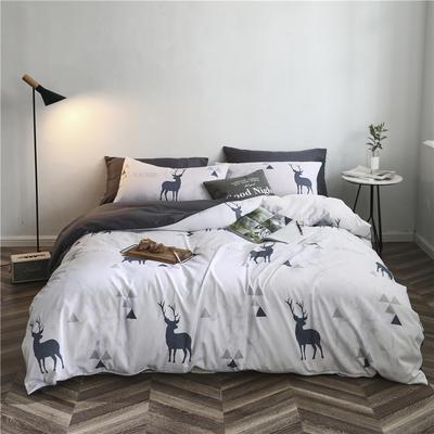 2019新款裸睡水洗真丝冰丝四件套天丝套件三件套春夏多规格 1.5m床单四件套 白鹿