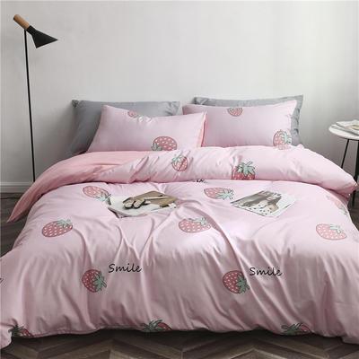 2019新款裸睡水洗真丝冰丝四件套天丝套件三件套春夏多规格 1.2m床笠三件套 大草莓-粉