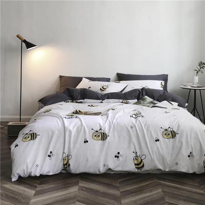 2019新款裸睡水洗真丝冰丝四件套天丝套件三件套春夏多规格 1.2m床单三件套 蜜蜂