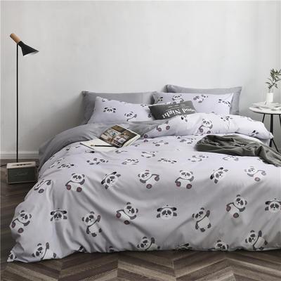 2019新款裸睡水洗真丝冰丝四件套天丝套件三件套春夏多规格 1.2m床单三件套 熊猫-灰