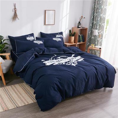 2018新款韩版个性套件   床笠款 1.2m(4英尺)床 航海家-藏蓝